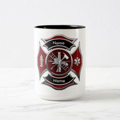 """CUSTOMIZABLE Monogram Firefighter"" MUG"