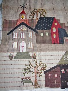 No words , only pictures. Yoko Saito, House Quilt Patterns, House Quilt Block, Quilt Blocks, Patch Quilt, Applique Quilts, Quilting Projects, Quilting Designs, Japanese Patchwork