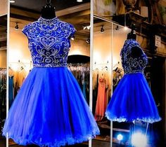 Royal Blue Homecoming Dress,Short Prom Dresses,Tulle Homecoming Gowns,Fitted Party Dress,Beading Prom Dresses