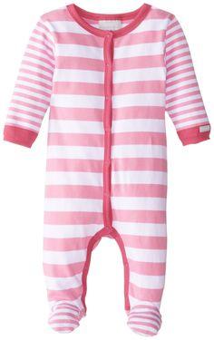 Coccoli Baby-Girls Newborn Pink Stripe Footie, Pink, 12 Months