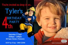 Wiggles Giggle Hoot Fireman Sam Birthday Party Invitations Print your Own Boy Birthday Parties, Birthday Party Invitations, 4th Birthday, Fireman Party, Fireman Sam, Youre Invited, Birthdays, Party Ideas, Kids