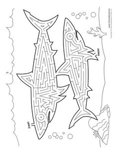 These printable animal templates can be used for a bunch of different crafts and activities for kids and also as writing frames for writing stories. Shark Activities, Calming Activities, Craft Activities For Kids, Mazes For Kids Printable, Printable Animals, Worksheets For Kids, Animal Coloring Pages, Coloring Pages For Kids, Hard Mazes