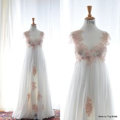 AprilPink Peach Vintage LaceCustom Empire Waist by TingBridal, $3500.00
