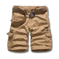 Military Uniform Style Trendy Multi-Pocket Solid Color Straight Leg Loose Fit Cotton Blend Summer Shorts For Men