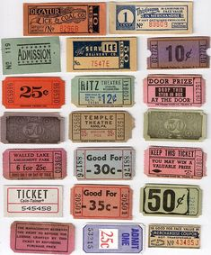 Beautiful collection of vintage tickets.