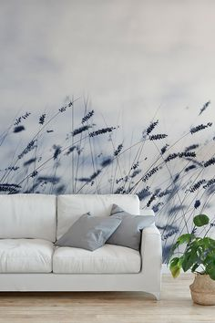 39 Modern Wallpaper Decoration For Living Room Ideas - Living in a studio apartment may limit you physically, but it doesn't have to cramp your imagination. What you can or cannot do with your living room . Wallpaper Decor, Modern Wallpaper, Living Room Designs, Living Room Decor, Large Floor Vase, Mural Wall Art, Blue Wallpapers, Blue Walls, Coastal Style