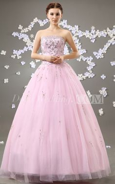 Blushing Strapless A-Line Ball Gown With Beading and Tulle Overlay