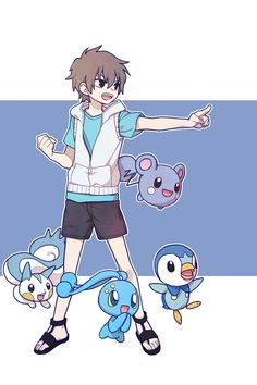 Tags: Anime, Pointing, Pokémon, Nintendo, Blue Background, Sandals, Piplup