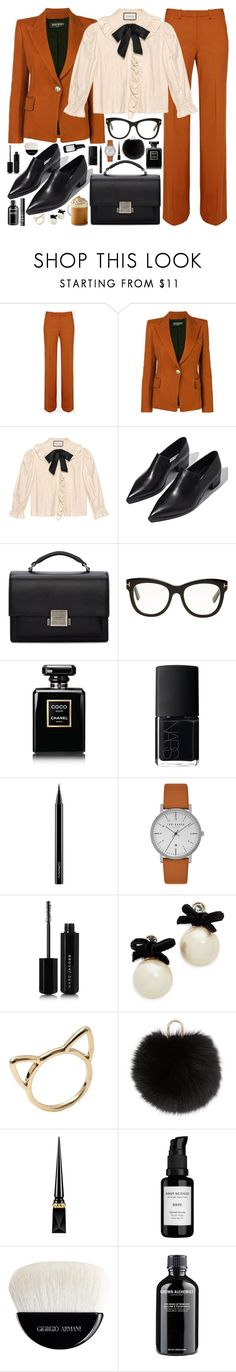 """""""S P O O K Y / /"""" by douxlaur ❤ liked on Polyvore featuring Balmain, Gucci, Acne Studios, Yves Saint Laurent, Tom Ford, Chanel, NARS Cosmetics, MAC Cosmetics, Ted Baker and Marc Jacobs"""