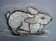 chalk and charcoal rabbit