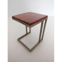 Carson Side Table Cocobolo Top Metal Base #miniatures #modern #sidetable #couchtable #livingroom #furniture #wood #artisan #prdminiatures #unique #art #model #carsonsidetable #dollhouse