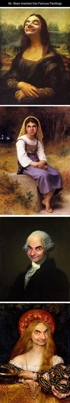 Funny pictures about Mr. Bean Inserted Into Famous Portrait Paintings. Oh, and cool pics about Mr. Bean Inserted Into Famous Portrait Paintings. Bean Inserted Into Famous Portrait Paintings photos. Haha Funny, Funny Memes, Hilarious, Funny Stuff, Jokes, I Love To Laugh, Make You Smile, Famous Portraits, Laughing So Hard