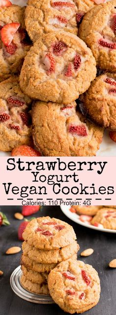 Strawberry Yogurt Vegan Cookies | gluten free and paleo these cookies healthy and delicious with a subtle flavor of fresh strawberries. My little one love these soft, moist and chewy cake like cookies | http://kiipfit.com