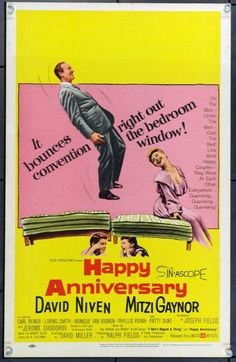 Happy Anniversary (1959) Stars: David Niven, Mitzi Gaynor, Carl Reiner, Elizabeth Wilson, Patty Duke, Kevin Coughlin ~ Director: David Miller