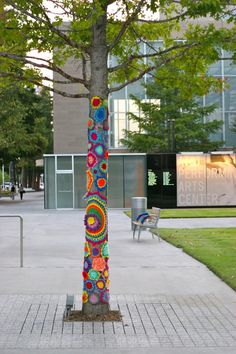 yarn bomb: love unexpected public art- I think we need these in downtown New Philadelphia!  Do you think anyone would notice!