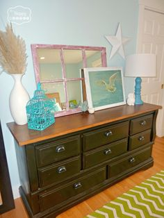 Create a Master Bedroom you LOVE on a budget at thehappyhousie - upcycled dresser White Bedroom Furniture, Black Furniture, Paint Furniture, Furniture Makeover, Bedroom Decor, Furniture Ideas, Bedroom Ideas, Refurbishing Furniture, Furniture Inspiration