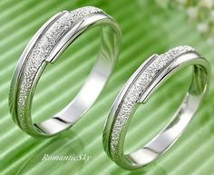 2pcs- Free Engraving Frosted Sterling Silver promise rings, couple rings,wedding bands, wedding rings, engagement rings,matching rings