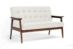 Sun Room Furniture - Baxton Stratham White Mid-Century Modern Sofa - Furniture & Mattresses - Living Room Furniture - Sofas & Loveseats