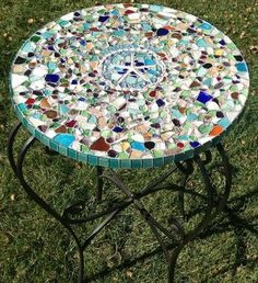 1 - Sea Glass Mosaic Table Top: ~ sea glass craft photos submitted by Lauren in  LA   1 - This is a sea glass mosaic tabletop that I made out of my 15-year sea glass collection