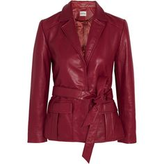 GANNI Passion belted leather jacket (1,025 BAM) ❤ liked on Polyvore featuring outerwear, jackets, red leather jacket, belted jacket, genuine leather jackets, red jacket and belted leather jacket