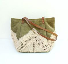 Good Old Times- Vintage Doily, Cotton and Leather Bag by StarBags $97.00
