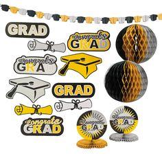 Black, Gold & Silver Graduation Decorating Kit - OrientalTrading.com