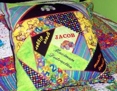 Jacob's quilted and embroidered pillow Vera Bradley Backpack, Quilts, Pillows, Bags, Handbags, Patch Quilt, Cushion, Taschen, Kilts