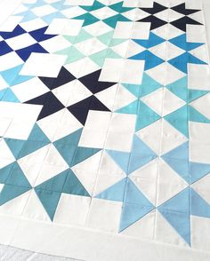 Blue monochromatic star quilt by sweetfeetstitches #modern #solid #quilt