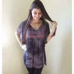 ❗️LAST TWO❗️Boho Style Tribal Embroidered Top Boho Style Tribal Embroidered Top.  Flutter sleeve detail.  Each top has unique coloring (none of them are identical).  Color is charcoal.  Modeling size S.  Price firm unless bundled.                                                                         ▪️60% Cotton 40% Polyester                                 ▪️Dry Clean ONLY   🚫PayPal 🚫Trades Boutique Tops Blouses
