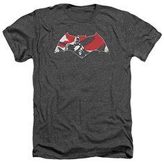 Batman Vs Superman Armor Splatter Logo Mens Heather Shirt Charcoal Xl @ niftywarehouse.com