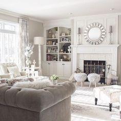 ♡ ᒪOᑌIᔕE ♡ Living Room White, Interior Design Living Room, Living Room Designs, Living Spaces, Living Room Shelves, Living Room Furniture, Interior Design Tools, Sitting Room Decor, Modern Lounge