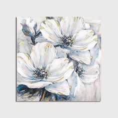 Studio 500 Museum Quality Canvas Art - The White & Blue Lily Pad of Flowers x Hand Painted Over the High Resolution Giclée Printing finished with Real Gold Leaf by Artist, GC Flower Painting Canvas, Flower Artwork, Abstract Flowers, Canvas Artwork, Flower Paintings, Canvas Prints, Canvas Canvas, Lily Painting, Artwork Wall