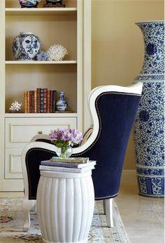 Indigo Elegant - idea for middle bedroom. move all blue & white china into the room http://www.homeportfolio.com/SlideShow/indigo/jacquelyn-armour#slide