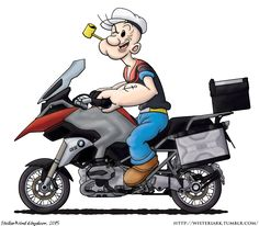 """A T-Shirt design for my dad's birthday, featuring his motorcycle (A BMW nicknamed """"Popeye"""" due to its headlight design) and th. Popeye the Bike Art, Motorcycle Helmets, Dad Birthday, Happy Birthday, 1200 Gs Adventure, Bmw Boxer, Mini Bike, Vespa, Motorbikes"""