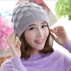 Cute hairball knit beanie hat for women winter wear  99f0f92a7377
