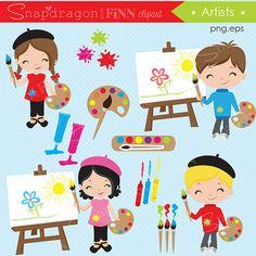 Kunst clipart, kunstenaar clipart, Art Party clipart, klas clipart, Art, Artist, schilderen, Craft, illustraties, commerciële licentie inbegrepen