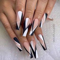 Cute Acrylic Nail Designs, Ombre Nail Designs, Fall Nail Designs, Edgy Nails, Trendy Nails, Swag Nails, Bling Acrylic Nails, Summer Acrylic Nails, Nagellack Design