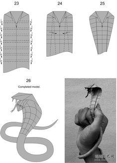 Short version of the cobra manual origami specific steps 4 Origami Rose, Origami Snake, Dinosaur Origami, Origami 3d, Origami Dragon, Paper Crafts Origami, Origami Design, Useful Origami, Origami Lion