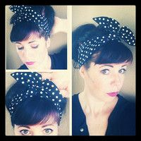 Black and White Polka Dot Dolly Bow Headwrap Bandana Hair Bow 1940s 1950s Vintage Style Fabric - Rockabilly - Pin Up - For Women, Teens