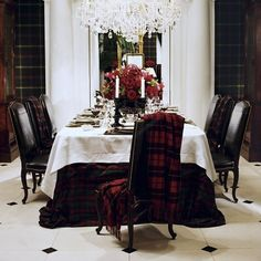 Tartan tablecloth and blankets for a winter table - Ralph Lauren Home Collection, 2010