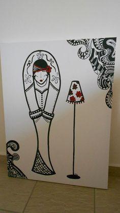 (VENDIDA) - Boneca coleção  Acrílica - tela 90X70 arte -art