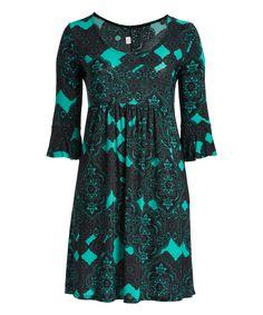 Green & Black Damask Ruffle-Sleeve Dress - Plus