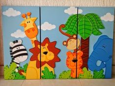 Murals For Kids, Art For Kids, Crafts For Kids, Kids Room Art, Painting For Kids, Drawing For Kids, Arte Country, Country Paintings, Safari Theme