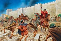 Titus cuts his way free of an ambush under the walls of Jerusalem - Peter Dennis Ancient Rome, Ancient History, Fall Of Jerusalem, Medieval World, Roman Soldiers, Roman History, Historical Pictures, Illustrations, Military Art