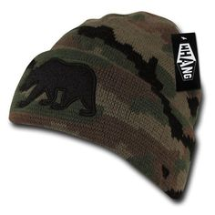 CALIFORNIA REPUBLIC Skull Cap Embroidered Cuff Pom Beanie Hat Black Gray CALI