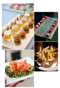 Your cocktail hour is a very impressionable time during your wedding day. Allowing guests to relax, mingle and grab a small bite and drink is important and thoughtful. Here are a few ideas to build your cocktail hour menu around.Images from left to right, top to bottom: 1. colincowieweddings 2.…