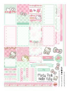 Free Printable Mint Green and Pastel Pink Hello Kitty Planner Stickers from Organized Potato