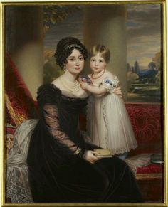 HM Queen Victoria with her mother the Duchess of Kent. She is holding a portrait of her father, he died when Victoria was ten months old. Portrait by Henry Bone, Queen Victoria Family, Queen Victoria Prince Albert, Victoria And Albert, Queen Victoria Children, Carl Friedrich, Tsar Nicolas, Reine Victoria, Elisabeth Ii, Queen Of England