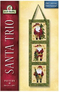"Santa Trio Applique Wallhanging by Jeri Kelly at KayeWood.com. 6.5"" x 20.5"" http://www.kayewood.com/item/Santa_Trio_Wallhanging/3673 $8.50"