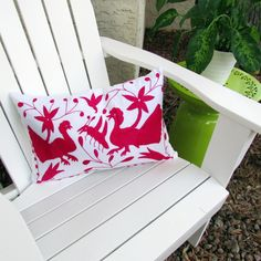 """Otomi pillow cover lumbar 13""""x20"""" Fucsia embroidered Mexican Textile hand embroidered on white color cotton rustic fabric from Hidalgo by ArteDeMiTierraMX on Etsy"""